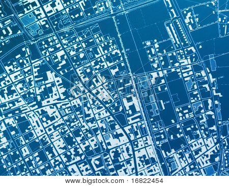 hir res image of town blue print