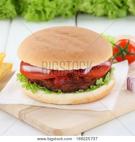 Hamburger Fresh Beef Onion Tomatoes Lettuce