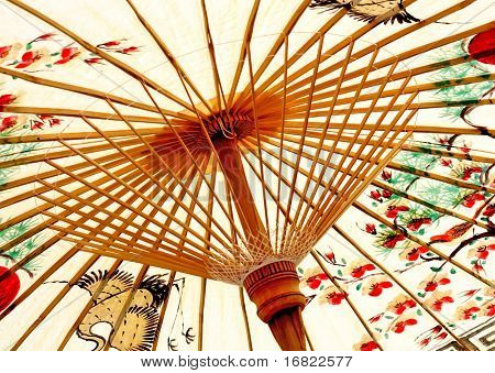 detail of paint asian paper umbrella