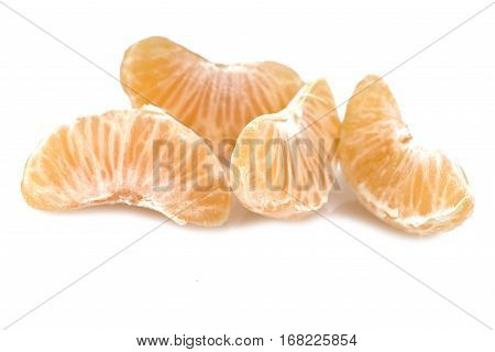 Mandarin or Tangerine fruit with leaves on a white background