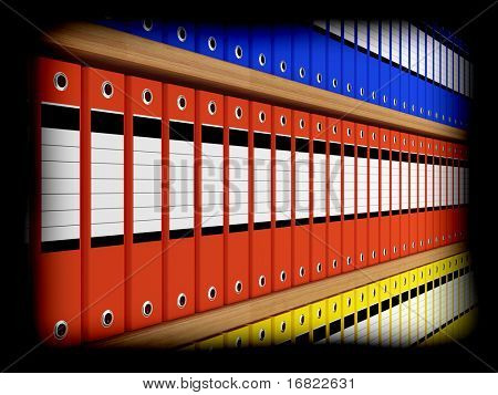 3d image of colorlful office file organizer