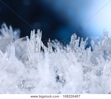 Winter cold hoarfrost snow ice formations macro