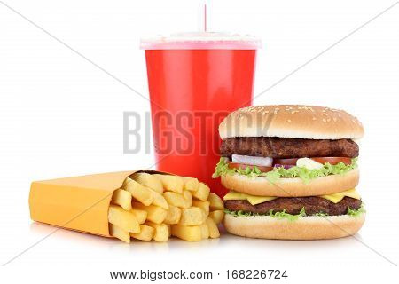Double Burger Hamburger And Fries Menu Meal Combo Drink Isolated
