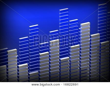 3d image of diagram bar suitable for music or finance