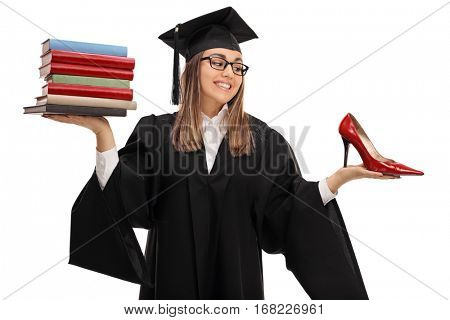 Tempted graduate student holding a stack of books and a high heel shoe isolated on white background