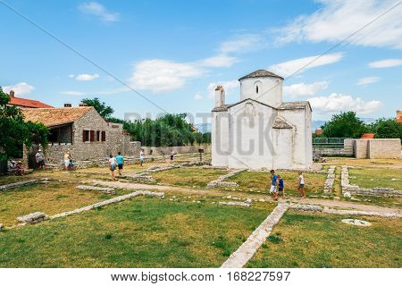 Nin, Croatia - July 30, 2015: Church Of The Holy Cross Is A Croatian Pre-romanesque Catholic Church