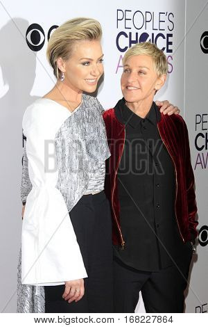 LOS ANGELES - JAN 18:  Portia de Rossi, Ellen DeGeneres at the People's Choice Awards 2017 at Microsoft Theater on January 18, 2017 in Los Angeles, CA