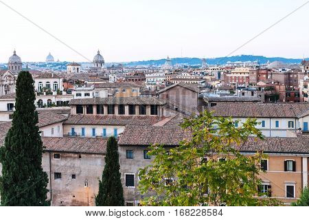 travel to Italy - view of old houses from Capitoline hill in Rome in evening
