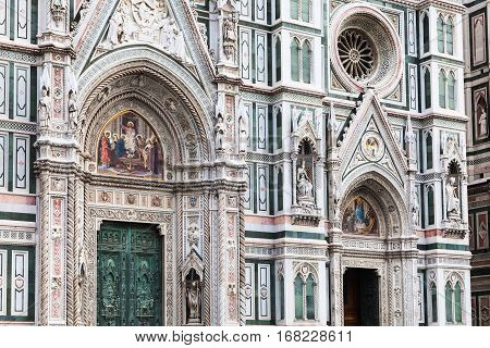 travel to Italy - ornamental facade of Cathedral Santa Maria del Fiore in Florence city