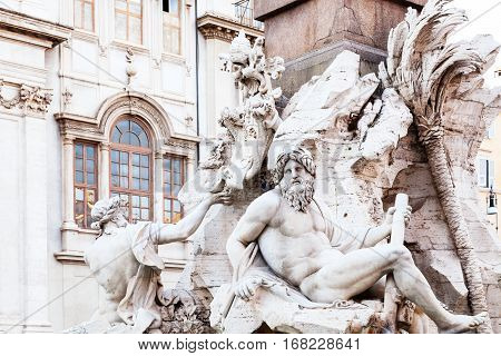 travel to Italy - decoration of Fontana dei Quattro Fiumi (Fountain of the Four Rivers) on Piazza Navona in Rome city