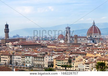 travel to Italy - view of historic centre of Florence city from Piazzale Michelangelo in autumn evening