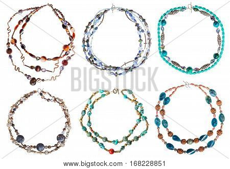 set of round necklaces from gem stones isolated on white background