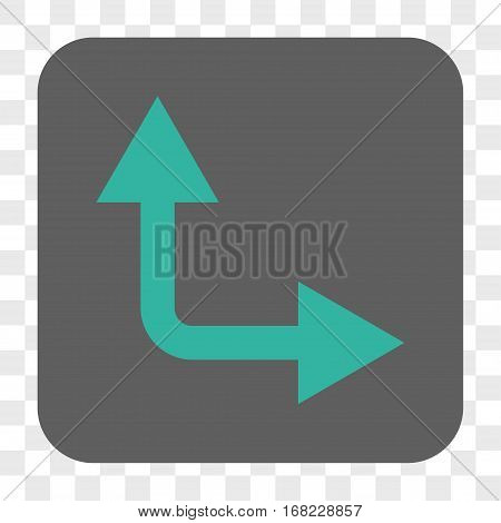 Bifurcation Arrow Right Up interface toolbar button. Vector icon style is a flat symbol in a rounded square button cyan and gray colors chess transparent background.