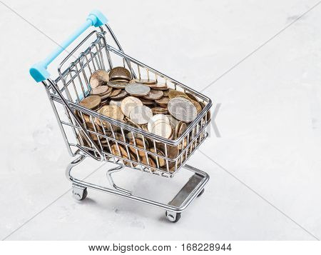 shopping carriage with russian coins on concrete board