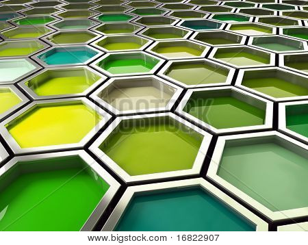 fine image 3d of green tone hexagon background