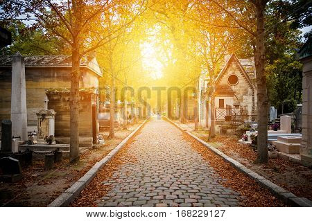 Cemetery in Paris in autumn at sunset
