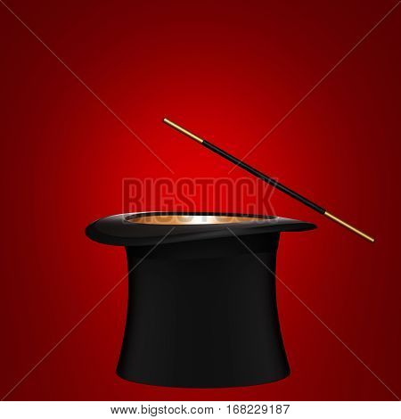 Magician hat with magic wand on red background. 3D rendering