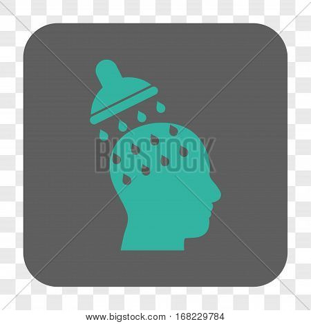 Brain Washing interface toolbar button. Vector icon style is a flat symbol on a rounded square button cyan and gray colors chess transparent background.