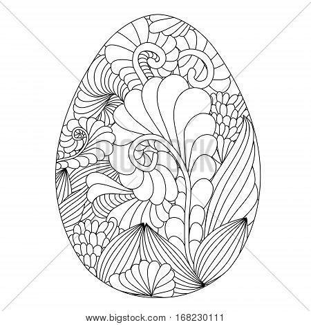 Hand drawn ornamental easter egg with doodle pattern for coloring book for adult and design elements. Cute Doodle style Easter Egg. Vector egg. Black and White Easter egg with Doodle pattern. Ideal for Coloring book or Decorative Design Element. Happy eas