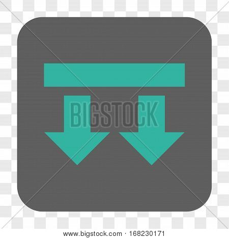 Bring Down interface toolbar button. Vector icon style is a flat symbol on a rounded square button cyan and gray colors chess transparent background.