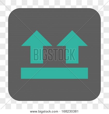 Bring Up interface toolbar button. Vector icon style is a flat symbol in a rounded square button cyan and gray colors chess transparent background.