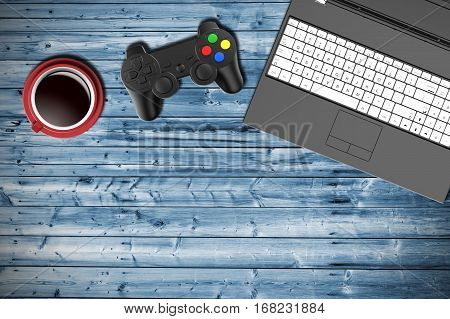 Table top view of a gamer with notebook joypad and cup of coffee. 3D Illustration