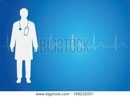 Medical background with doctor and ekg heartbeat