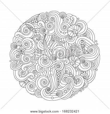 Abstract Round Sea Wave Mandala with curls, swirls, hairs sea shells isolated on white background. Coloring book for adult and older children. Editable vector illustration.