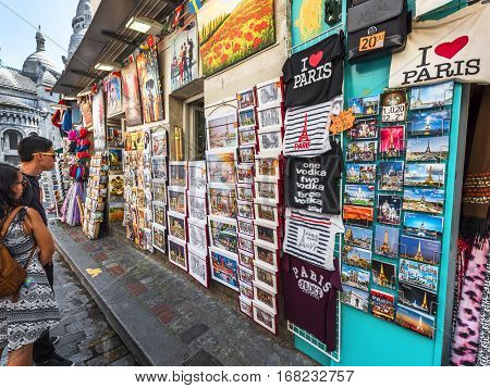 Paris, France - June 2016: At the souvenirs stores of Montmartre
