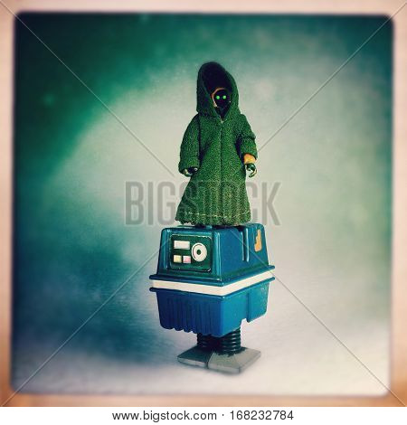 Vintage Kenner Star Wars action figures Jawa standing atop a GNK Gonk Power Droid - filtered image