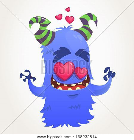 Cartoon blue horned monster in love. Saint Valentine monster. Vector Illustration Of Loving Monster And Hearts. Invitation card for party