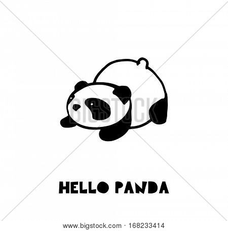 Cute Panda bear illustrations, vector hand drawn elements, black and white icons