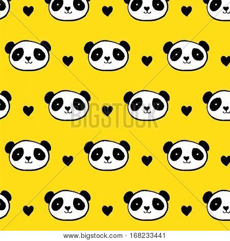 Cute Panda bear seamless pattern