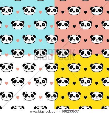 Cute Panda bear seamless patterns