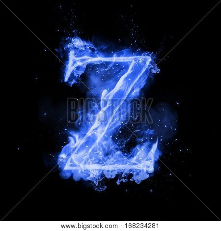 Fire letter Z of burning blue flame. Flaming burn font or bonfire alphabet text with sizzling smoke and fiery or blazing shining heat effect. Incandescent cold fire glow on black background poster