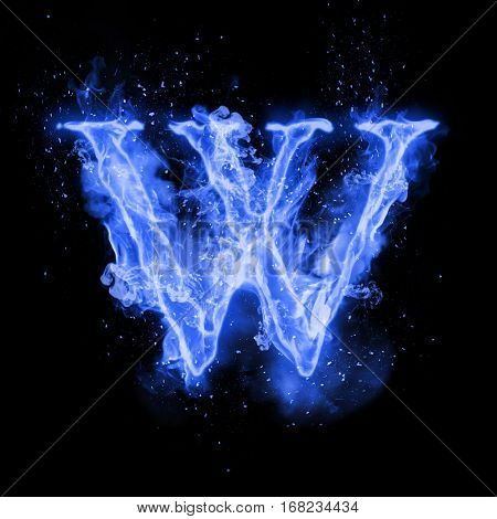 Fire letter W of burning blue flame. Flaming burn font or bonfire alphabet text with sizzling smoke and fiery or blazing shining heat effect. Incandescent cold fire glow on black background