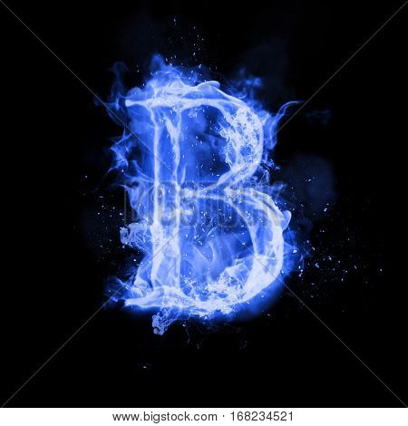 Fire letter B of burning blue flame. Flaming burn font or bonfire alphabet text with sizzling smoke and fiery or blazing shining heat effect. Incandescent cold fire glow on black background poster