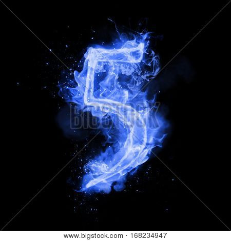 Fire number 5 five of burning blue flame. Flaming burn font or bonfire alphabet text with sizzling smoke and fiery or blazing shining heat effect. Incandescent cold fire glow on black background