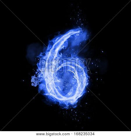Fire number 6 six of burning blue flame. Flaming burn font or bonfire alphabet text with sizzling smoke and fiery or blazing shining heat effect. Incandescent cold fire glow on black background