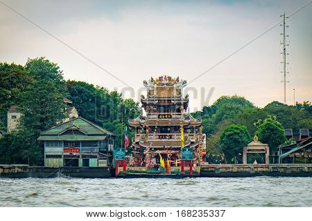 Bangkok, Thailand - January 9, 2016: Guan Yu Shrine or Gong Wu Shrine is a small Chinese temple on the western bank of Chao Praya River along the regular route of river boats.