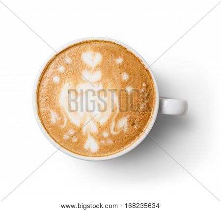 Cappuccino with frothy foam, coffee cup top view closeup on white wood background. Cafe and bar, barista art concept.