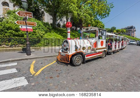 Paris, France - June 2016: Touristic train of Montmartre