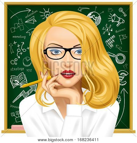 Face of a pretty blonde business woman in glasses near the blackboard with hand drawn business icons. Contains the Clipping Path