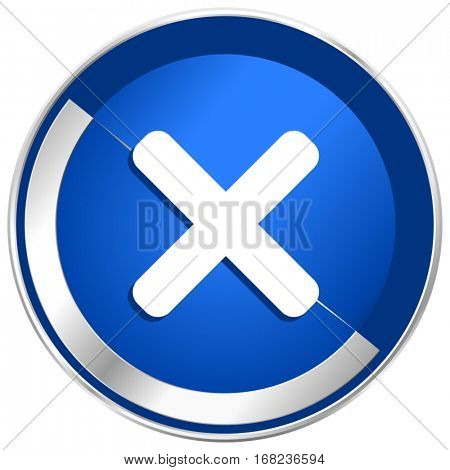 Cancel silver metallic web and mobile phone vector icon in eps 10.