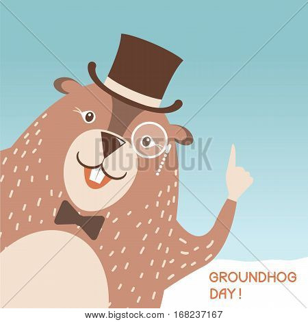 Happy Groundhog Day Illustration With Cute Marmot Head In Gentleman Hat And Eyeglasses