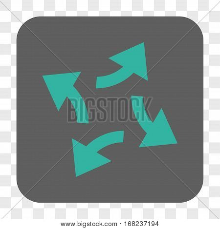 Centrifugal Arrows interface toolbar button. Vector icon style is a flat symbol in a rounded square button cyan and gray colors chess transparent background.