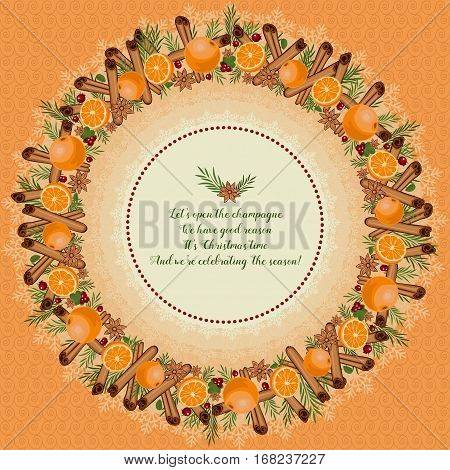 Christmas Wreath Made Of Cinnamon, Mandarin, Anise, Cranberries And Spruce Branches.