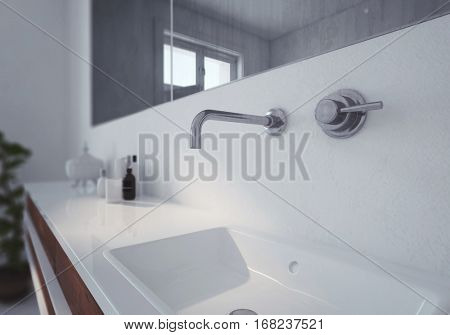 Modern white wall mounted hand basin and faucet with mixer below a long mirror in a bathroom interior, 3d rendering