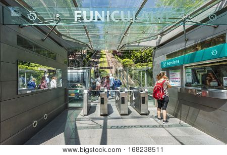 Paris, France - June 2016: The funicular of Montmartre
