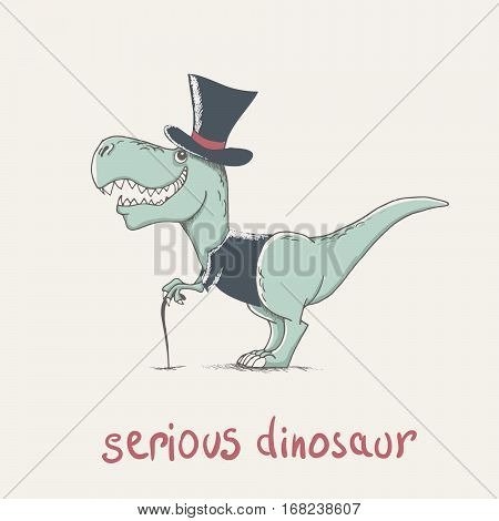 child dinosaur dressed in jacket and hat. funny cartoon childish illustration